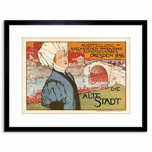 Vintage-Ad-Exhibition-Saxon-Craft-Dresden-Germany-Framed-Print-9x7-Inch