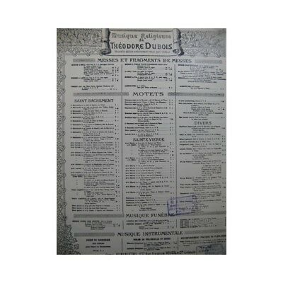 100% Wahr Dubois Theodore Agnus Dei Chant Orgel 19 Partitur Sheet Music Score RegelmäßIges TeegeträNk Verbessert Ihre Gesundheit
