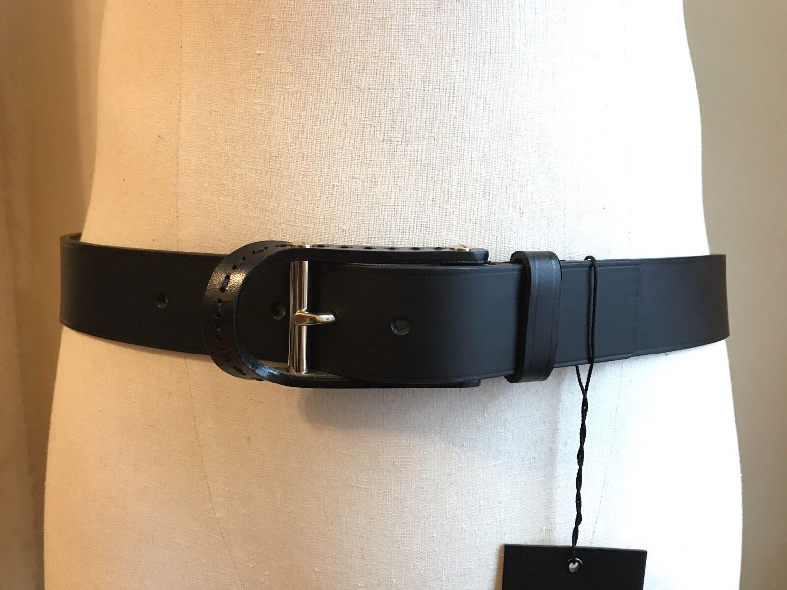 Dsquared Selten Schwarz Glatt Leder mit Gold Verziert Schnalle Plakette BELT S M