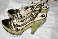 PRADA METALLIC LAME GREEN EVENING CORK SANDALS SHOES PLATFORM HEELS 9