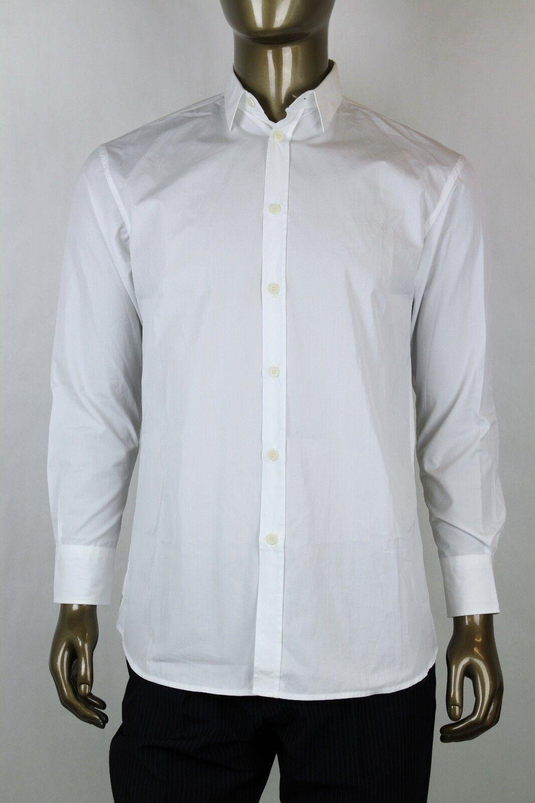 Bottega Veneta Men's White Cotton Dress Shirt IT 42 217500 9000