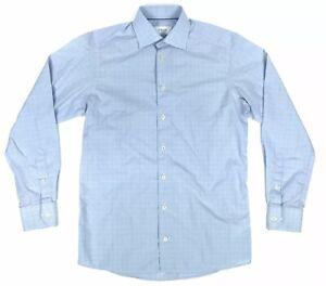 Eton-Mens-Size-15-Contemporary-Blue-White-Windowpane-amp-Glen-Checked-Dress-Shirt