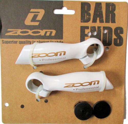 Fahrrad Bar Ends ZOOM Alu Zusatz Griffe Hörnchen Weiß für Stevens KTM GIANT u.a.