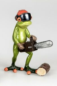 Formano-Decorative-Frog-Figure-with-Chainsaw-Red-Handpainted-ca-16cm