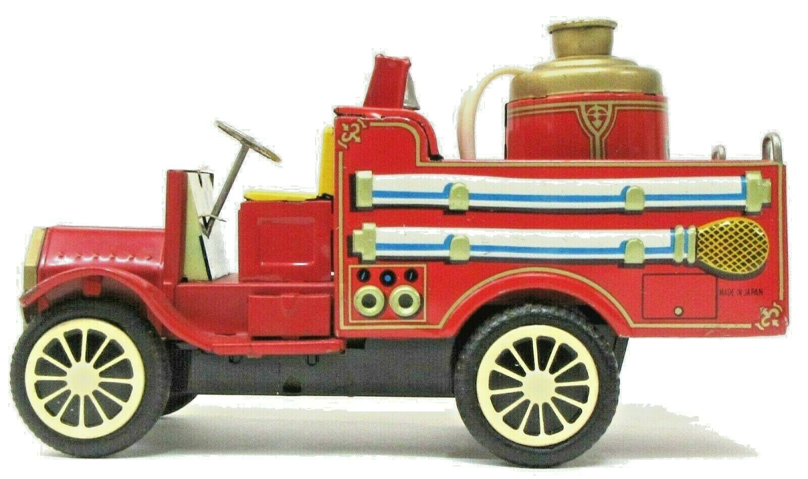 1950's FIRE ENGINE STEAM PUMPER TRUCK tin litho 7  friction drive JAPAN