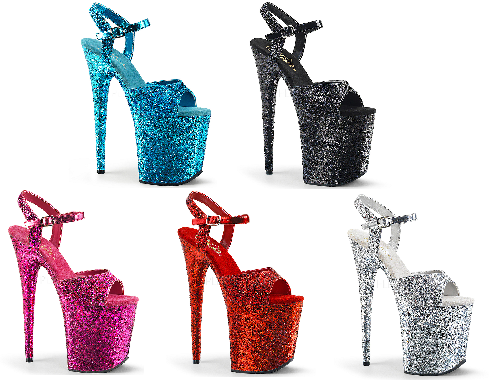 Pleaser FLAMINGO-810LG Exotic Dancing Dancing Dancing Platform Glitter Ankle Strap Sandal e499dd