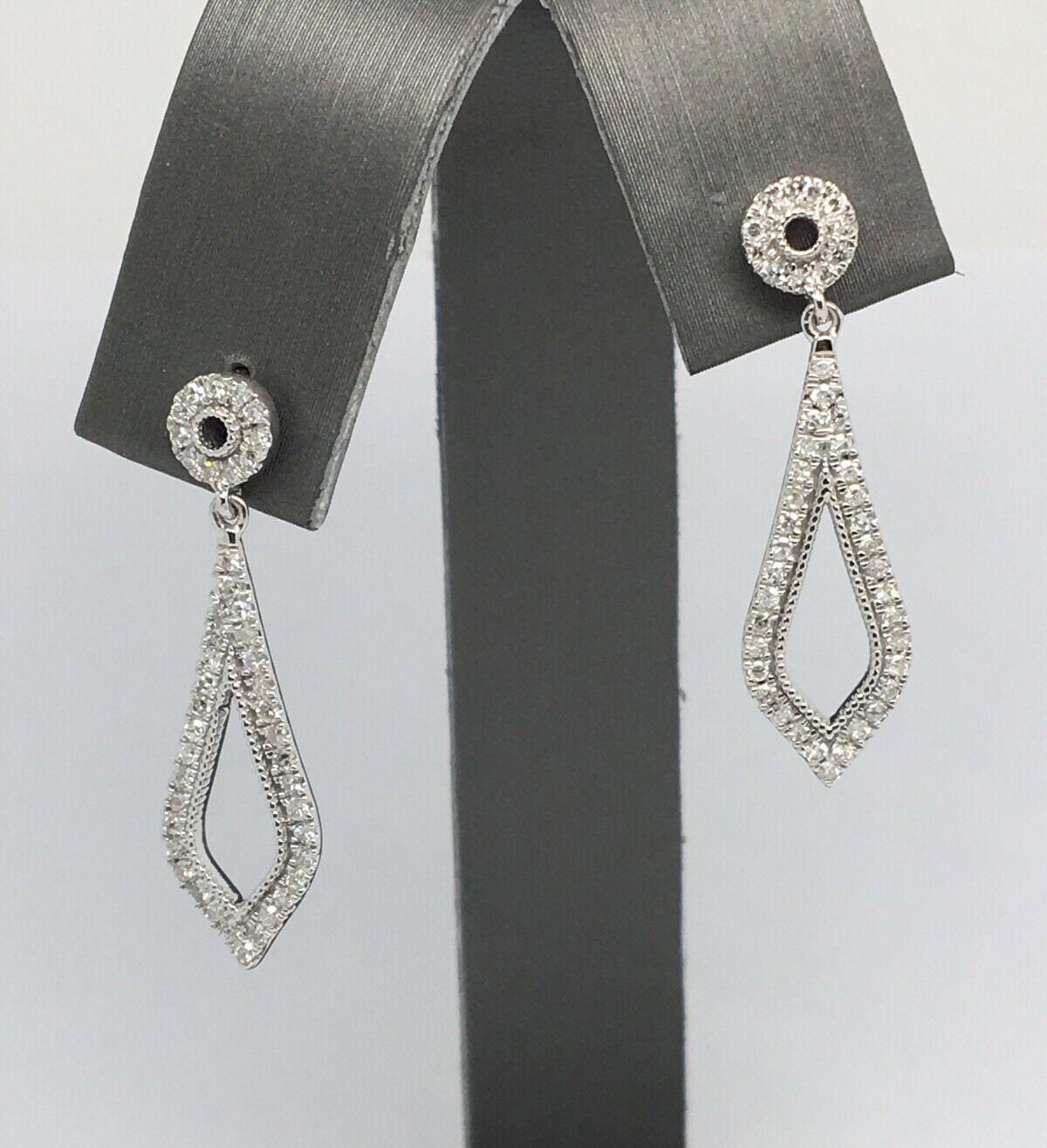 14K White gold Natural Diamond Dangling Earrings
