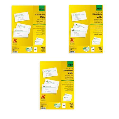 400 Stück Sigel 3C Visitenkarten 190g 225g 250g  weiß  LP 791 796 801
