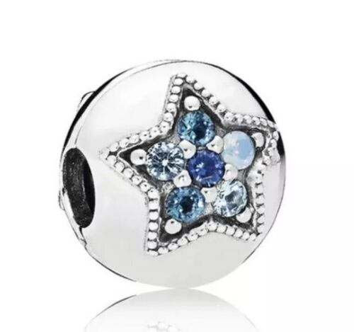 Bright Star Inspired Round Charm with Blue CZ Silver Plated NEW CH196