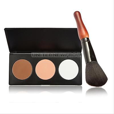 Pro 3 Colors Face Cream Makeup Cosmetic Palette Contour Concealer + 1Pcs Brush