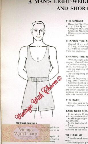 1940s Knitting Pattern copy Mens Lightweight Singlet Vest /& Shorts Underwear