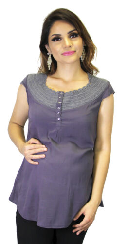 Gray Blue Maternity Sleeveless Embroidery Button Pregnancy Babyshower Blouse