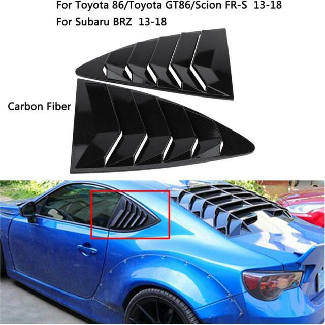 Fit Toyota 86 Scion FR-S Subaru BRZ Carbon Fiber Window Side Louver Cover Trim