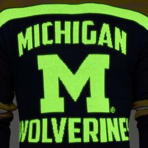 bdf15509f09b6 Image is loading Michigan-Wolverines-GLOW-IN-THE-DARK-Ugly-Christmas-
