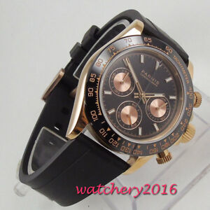 39mm-PARNIS-Saphirglas-Rose-Golden-Case-solid-Full-Chronograph-Quarz-men-039-s-Watch