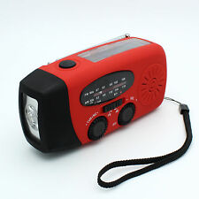 TORCH RADIO SOLAR CRANK OR USB RECHARGEABLE PHONE CHARGER CAMPING WATER RESIST