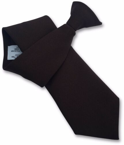 Mens plain brown matt clip on clipper tie