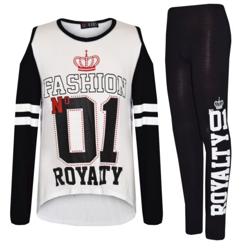 Kids Girls Fashion No 01 Royalty Print Fashion T Shirt Top /& Legging Set 7-13 Yr
