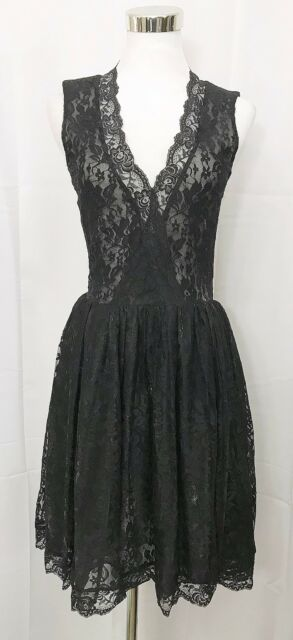 Patricia Field Dress Sleeveless Fit Flare Lace Party Cocktail Black size 6