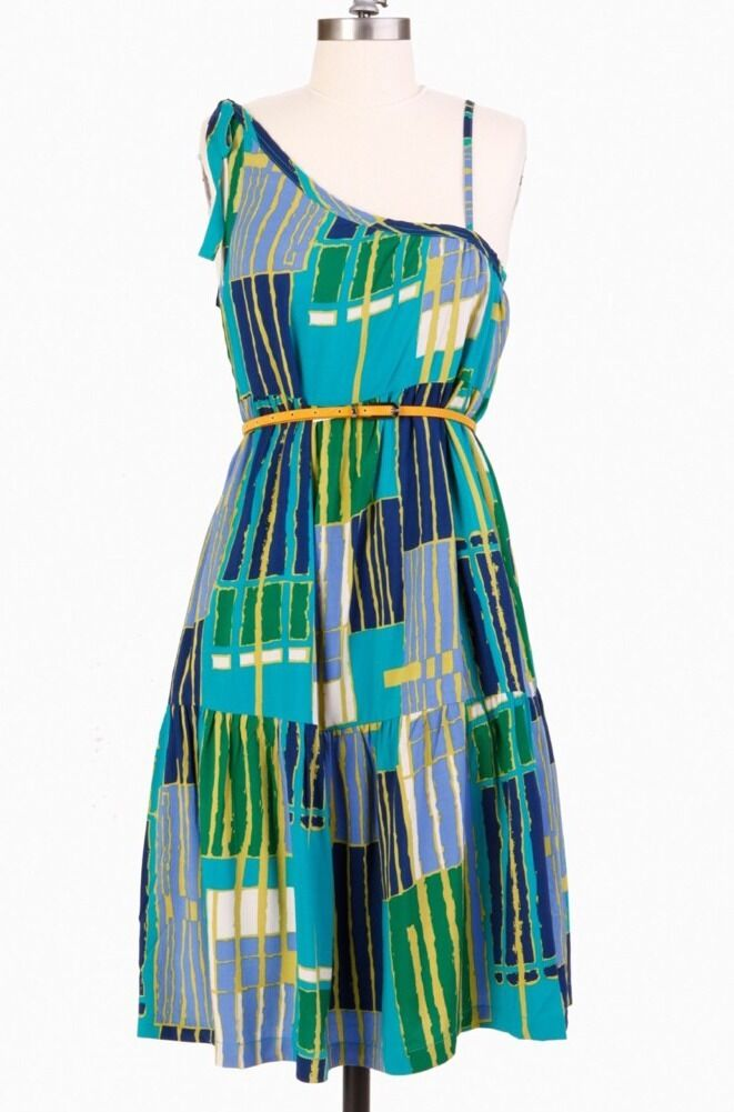 New Women's TULLE Pool Brunch By Beach Mod Geometric Print Dress bluee Sz M NWT