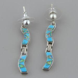 Vintage-Navajo-Opal-Turquoise-Sterling-Silver-Earrings-Native-American
