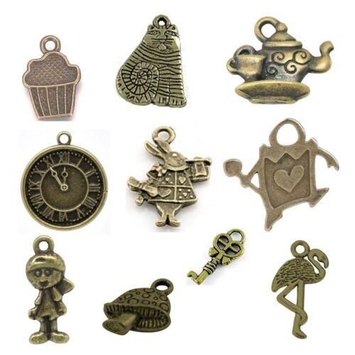 20 x Antique Bronze Mixed Pendant Charms Alice In Wonderland Steam Punk