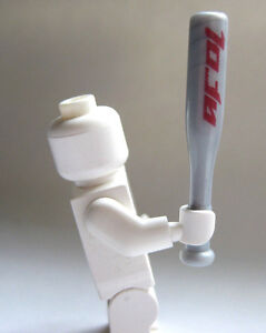 Custom BASEBALL BAT For Lego Minifigures -Silver with Red- Sports