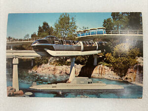 Vintage Walt Disney Disneyland Tomorrowland Postcard Monorail And Submarine B34