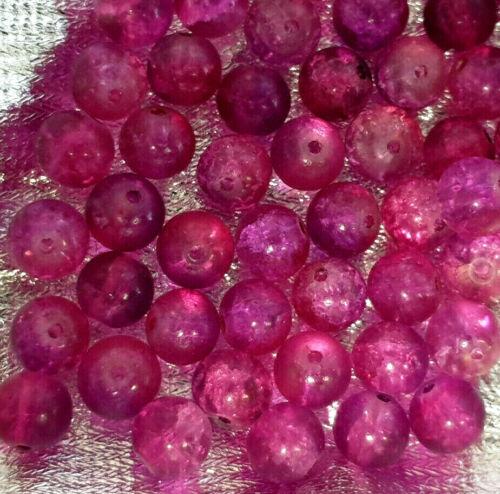 50 pcs of Fuchsia Pink Crackle Glass Beads K2026-10mm
