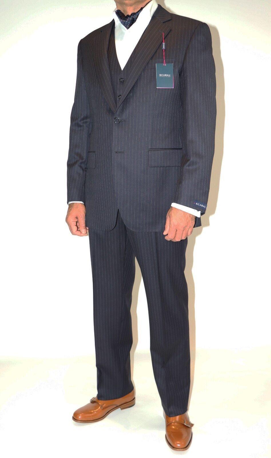 Neu  Anzug Herren Scabal 3-teilig Gr. 50 dunkelblau mit Nadelstreifen