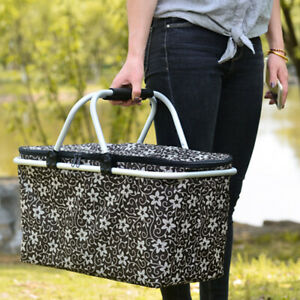 25L Portable Insulated Thermal Picnic Lunch Bag Basket Cooler Large Carry Bag ~