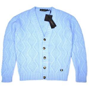 Details about NWT $2k Versace RUNWAY Men's Medusa Logo Blue Angora Cardigan Sweater AUTHENTIC