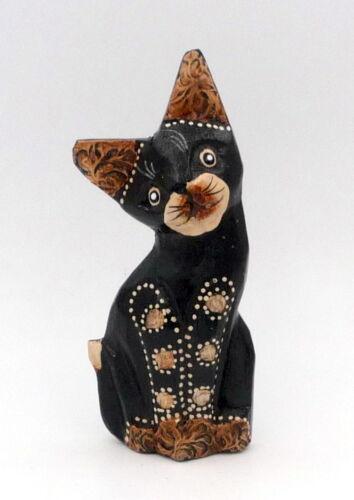 12 cm 10,5 cm Lot de 3 statuettes famille chats et chaton en bois 13,5 cm