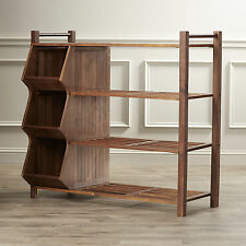 Shoe Organizer Rack 3 Shelf Storage Cubby Space Wood Porch Entryway Or Outdoor