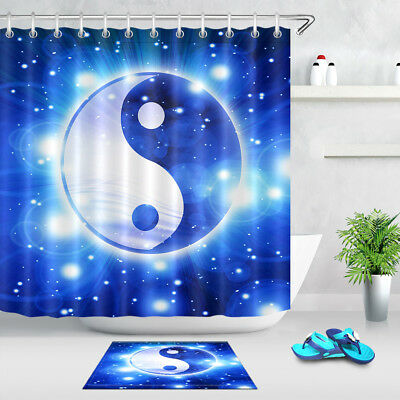 Koi Fish In Garden Pond Shower Curtain Bathroom Waterproof Fabric Yin Yang Decor