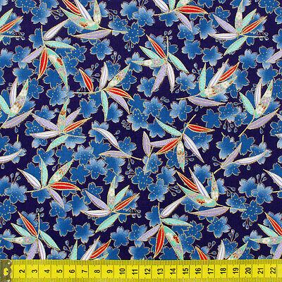 Blue Japanese kimono oriental Sakura blossom fabric cotton fat quarter FQ #F0008