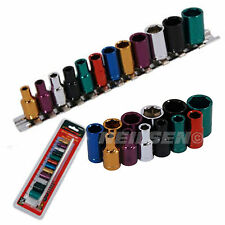 "Neilsen 1/4"" Drive Sockets 4mm-13mm Multi- Coloured Wall Drive Rail & Clips  7A"