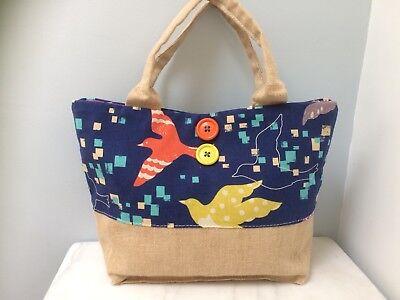 Bird Print Fabric Hand Held Tote Bag