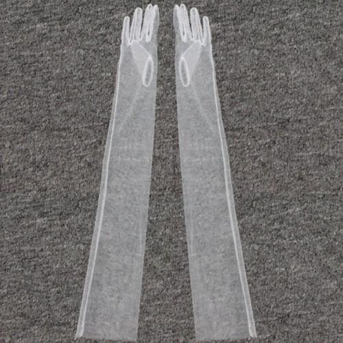 1pair sheer tulle long gloves lace semi sheer bridal wedding gloves photo parts`