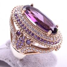 TURKISH JEWELRY 925 SILVER HANDMADE AMETHYST GEMSTONE WOMAN LADIES RING ALL SIZE