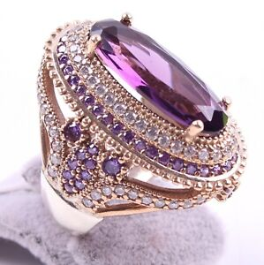 TURKISH-JEWELRY-925-SILVER-HANDMADE-AMETHYST-GEMSTONE-WOMAN-LADIES-RING-ALL-SIZE