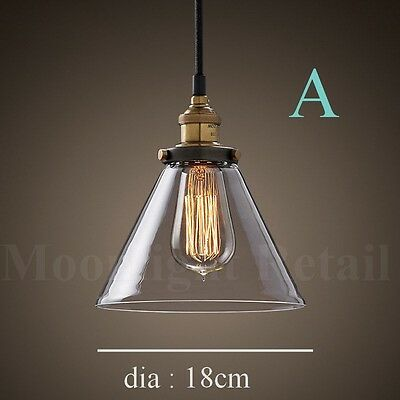 NEW MODERN VINTAGE INDUSTRIAL RETRO LOFT GLASS CEILING LAMP SHADE PENDANT LIGHT