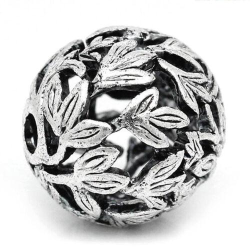 Perle Antique Argenté Avec Motif Feuille 14 mm 1x Bacatus nr29470