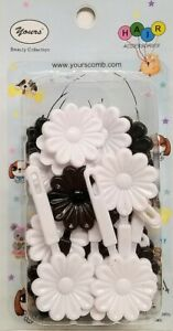 Yours-Barrettes-Hair-BLACK-WHITE-Big-Flowers-Ties-Girls-Pin-Clips-Braid-20-Pcs