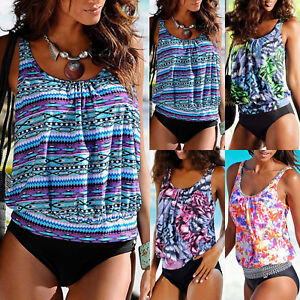 Womens-Blouson-Top-Tankini-Set-Swimwear-Swimsuit-Tribal-Floral-Bikini-Beachwear