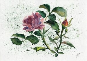 Roses-original-watercolor-flower-painting-garden-nature-stuff-yard-still-life