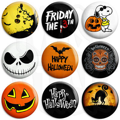 Halloween Badges - Various Trick or Treat Spooky Designs - 25mm Button Badge
