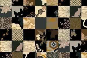 58-034-Remnant-Quilt-Gate-Hyakka-Ryoran-Neko-Cat-Squares-Fabric-HR3110Y-13E-w-Met