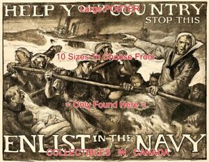 WWI-1917-Help-Your-Country-ENLIST-IN-THE-NAVY-POSTER-10-Sizes-18-034-4-5-FEET