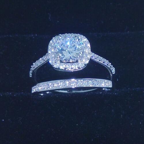 Classic White Topaz Diamonique 10KT Gold Filled Wedding Band Ring Set Sz 6//7//8